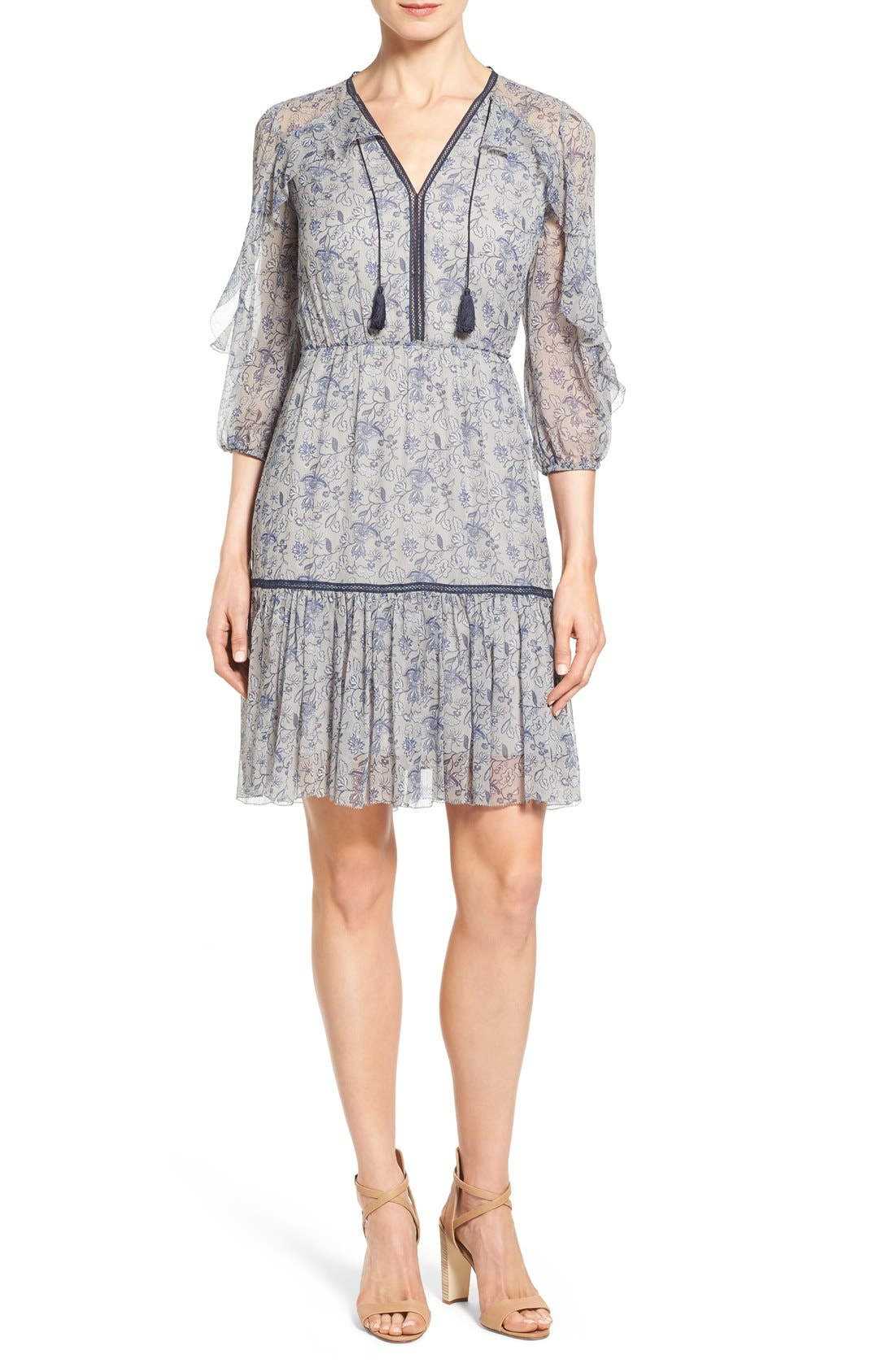 Main Image - Elie Tahari 'Landon' Ruffle Trim A-Line Floral Print Silk Dress