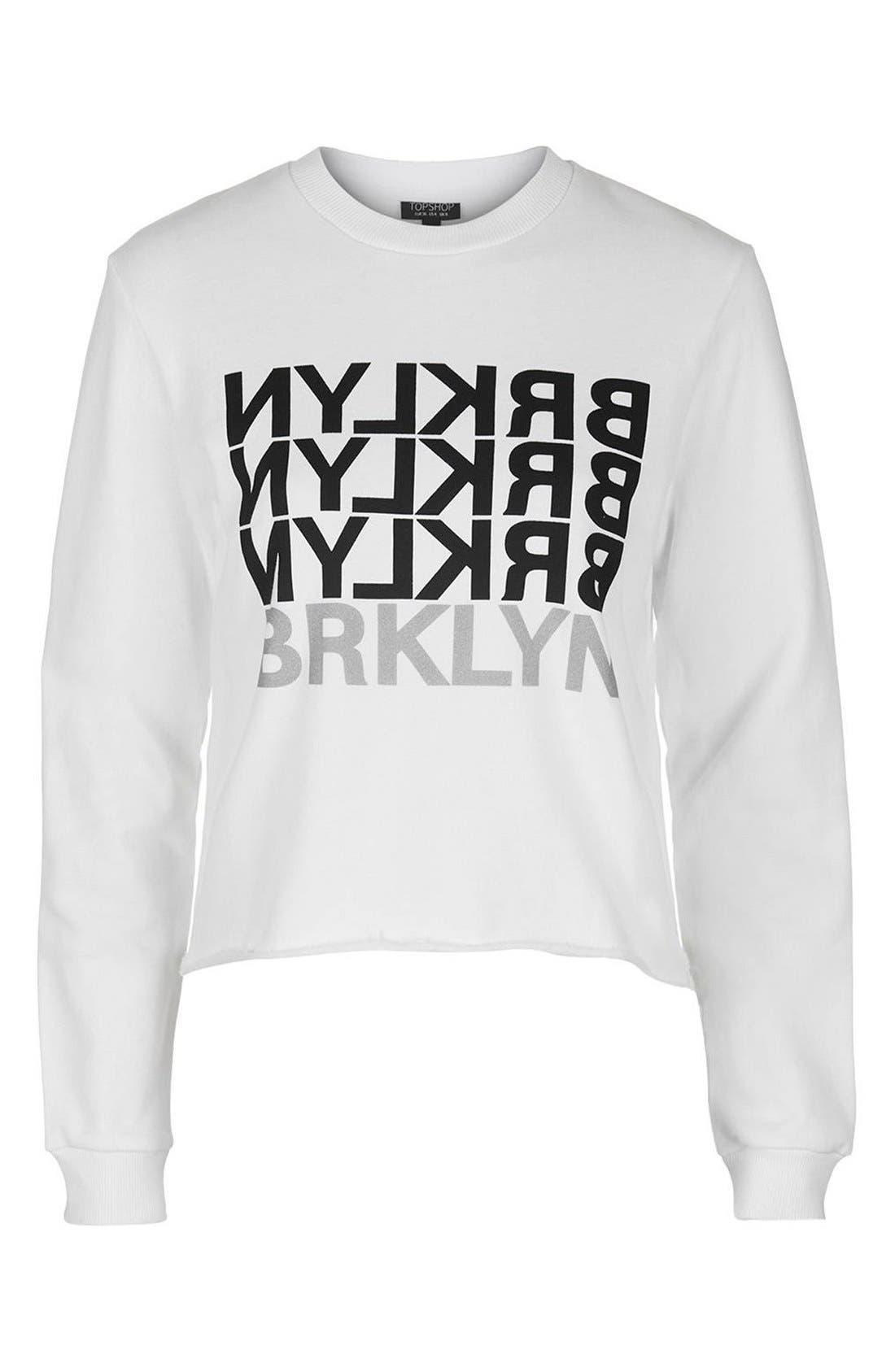 Alternate Image 4  - Topshop 'Brklyn' Graphic Sweatshirt