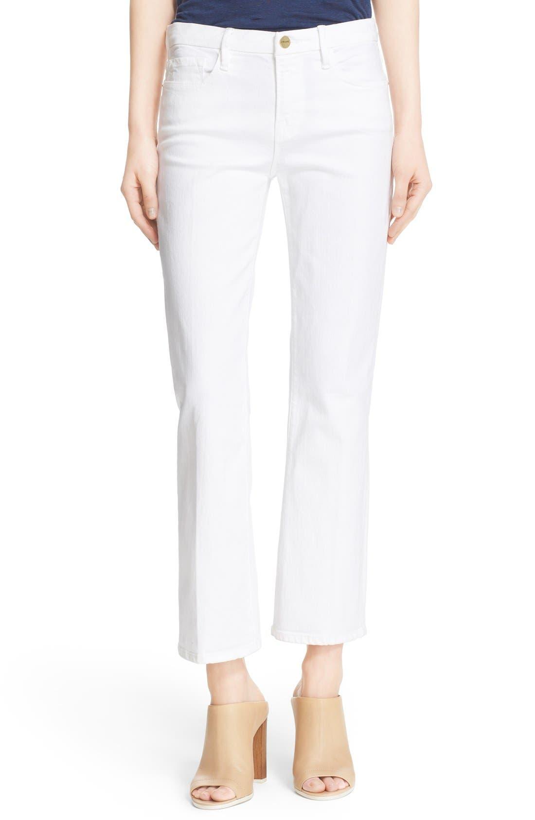 Main Image - FRAME 'Le Crop Mini Boot' Crop Jeans (Blanc)