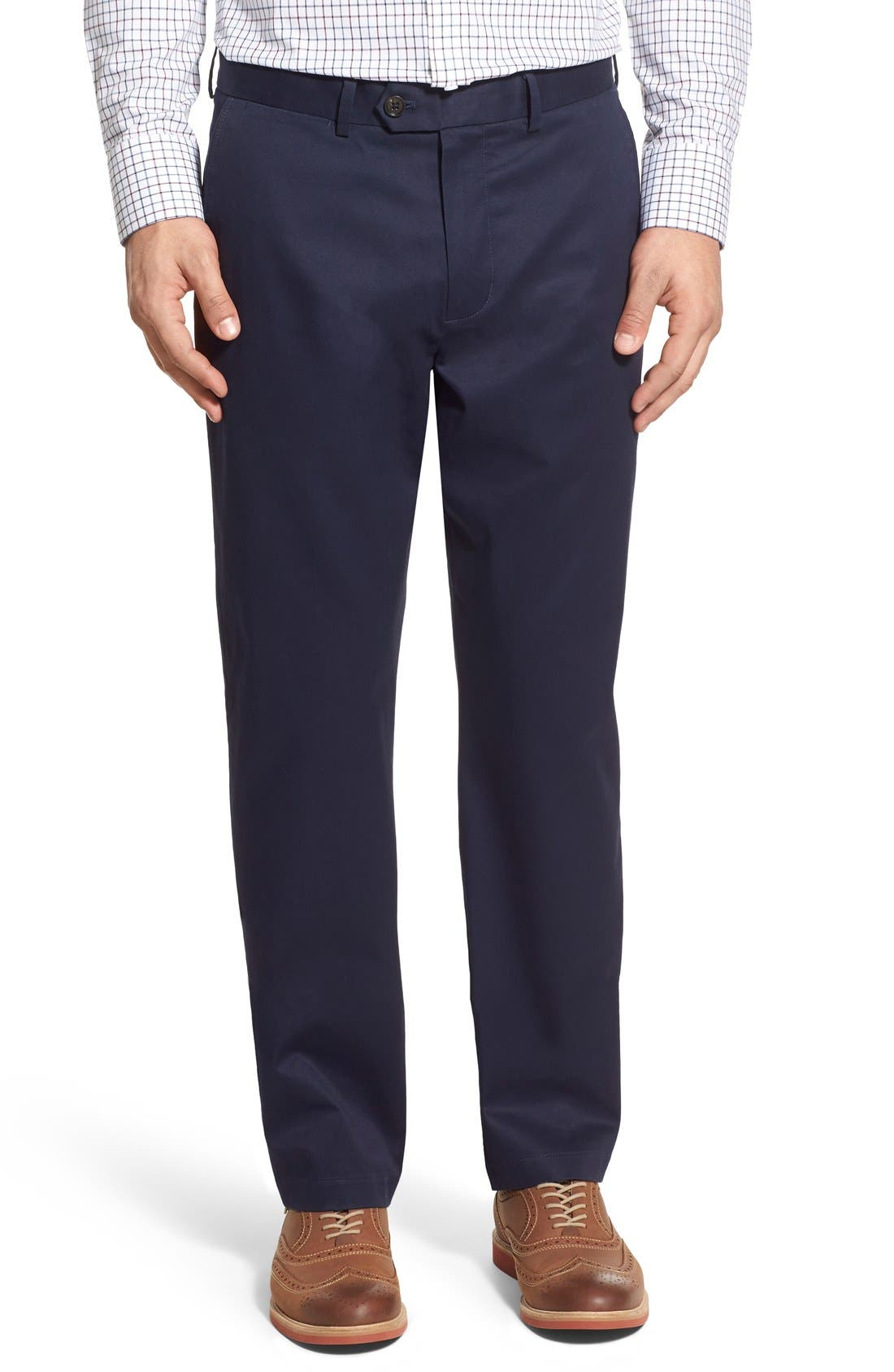 John W. Nordstrom® Non-Iron Smartcare™ Flat Front Stretch Cotton Pants