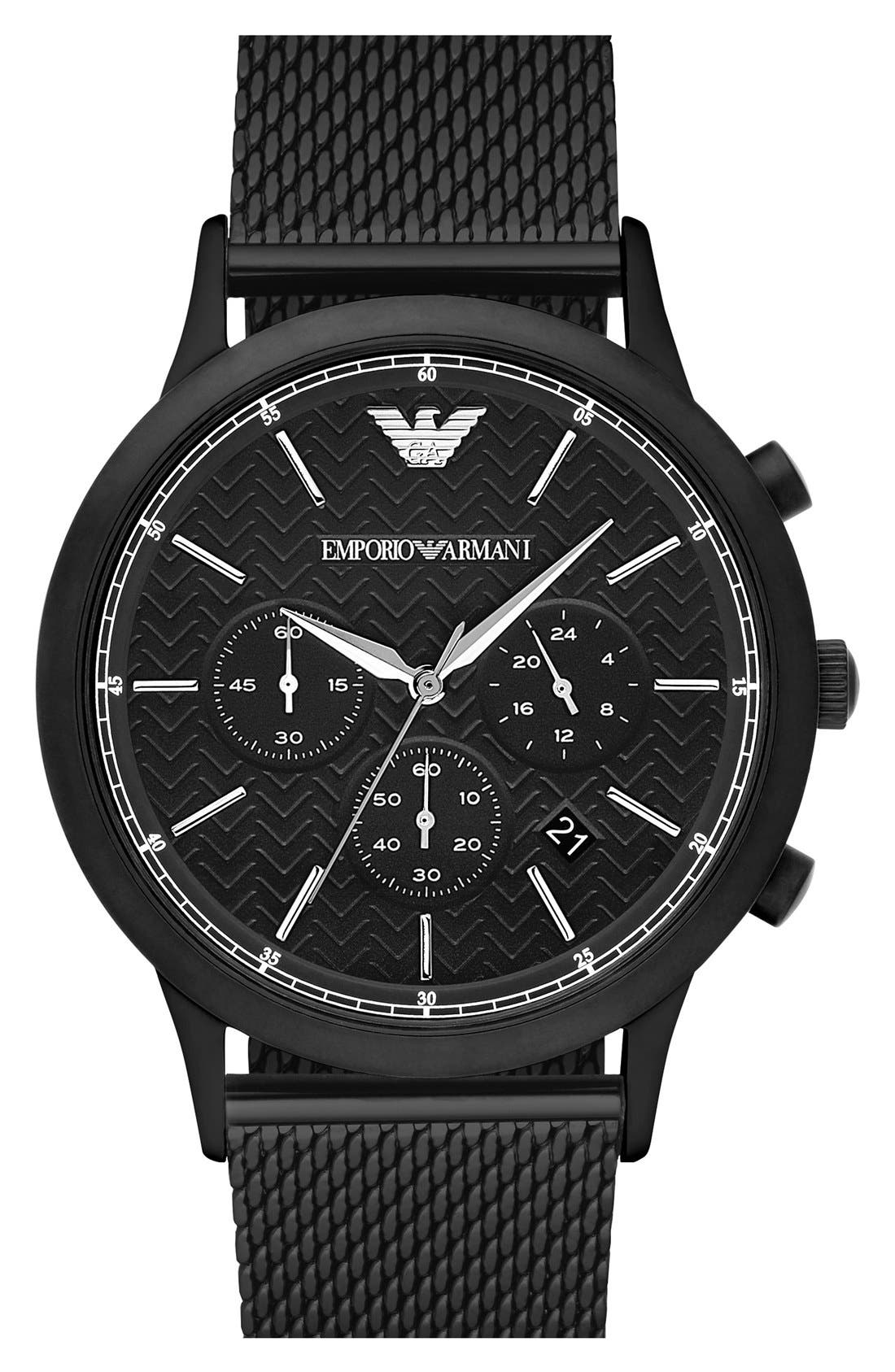 Alternate Image 1 Selected - Emporio Armani Chronograph Mesh Strap Watch, 43mm