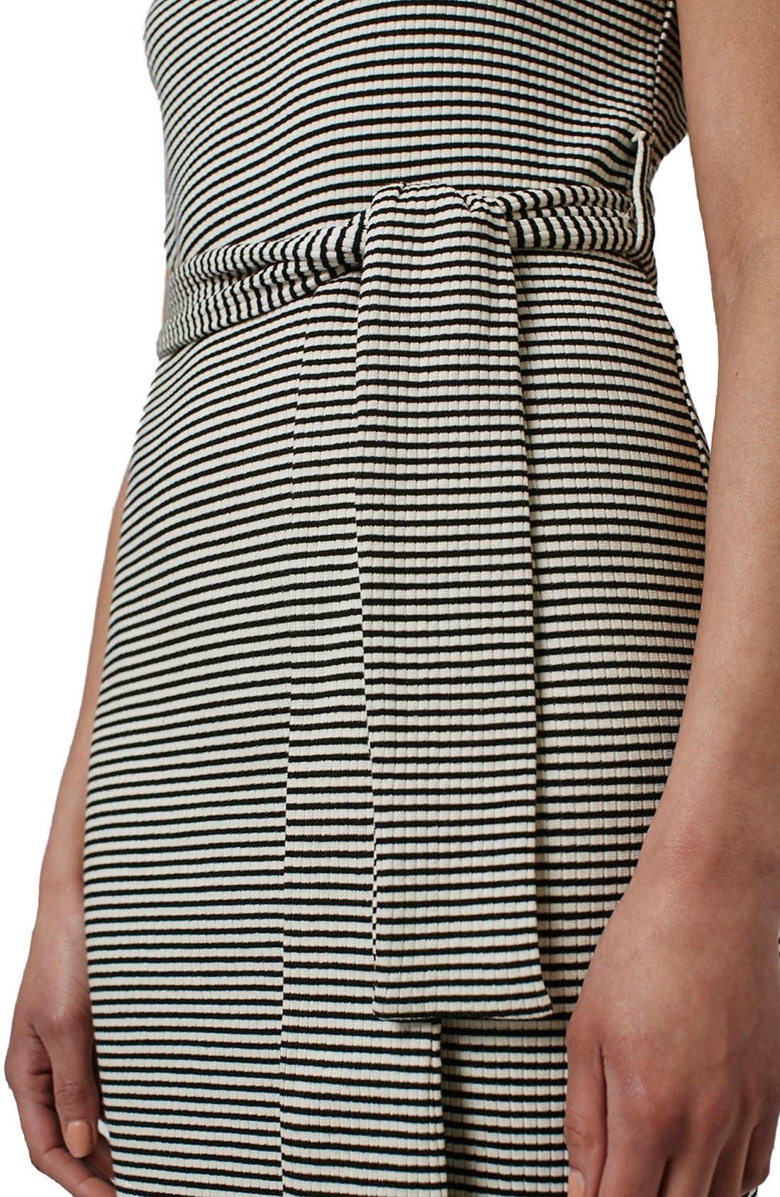Alternate Image 4  - Topshop Belted Stripe V-Neck Midi Dress