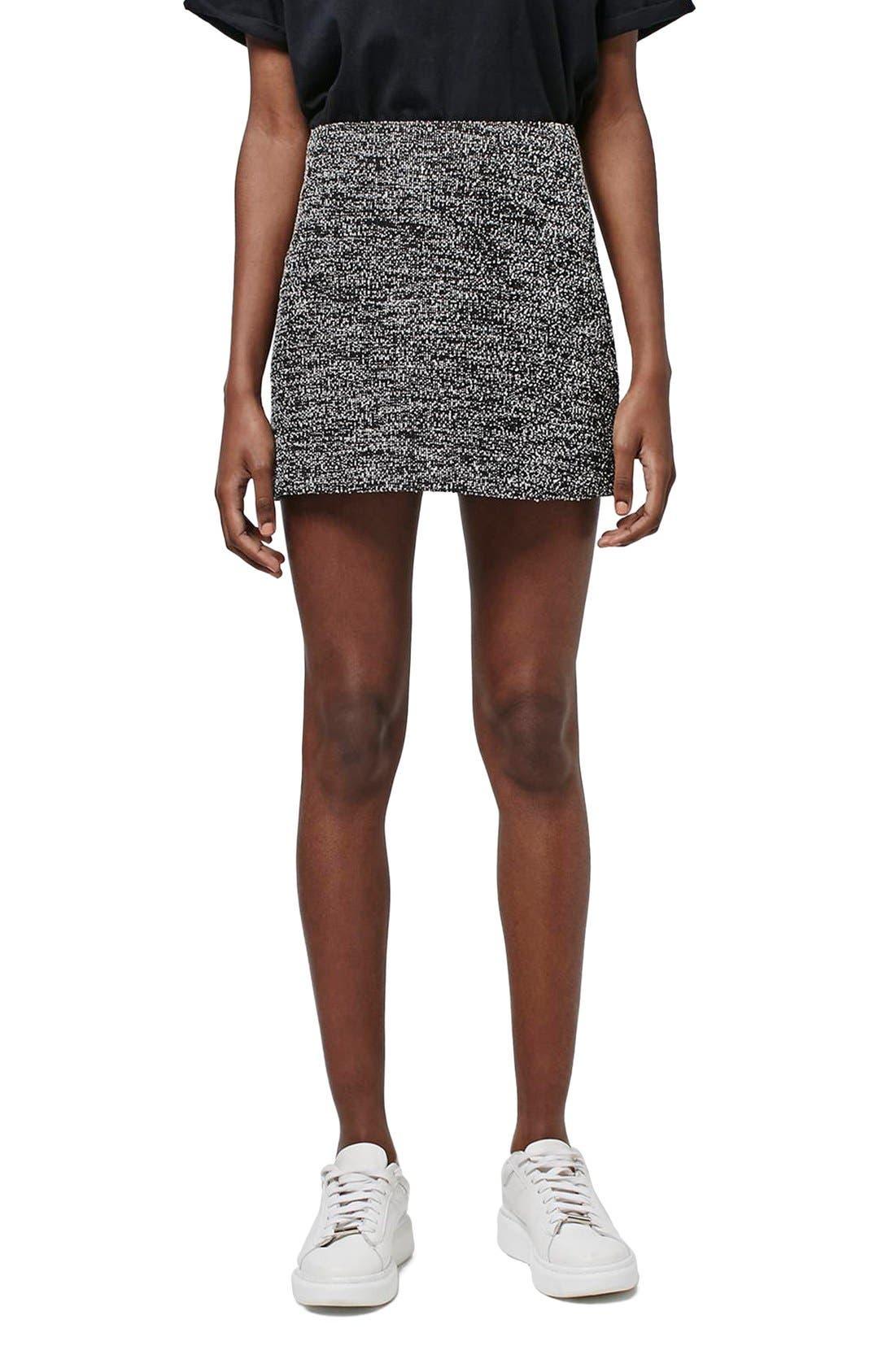 Main Image - Topshop A-Line Bouclé Skirt (Petite)