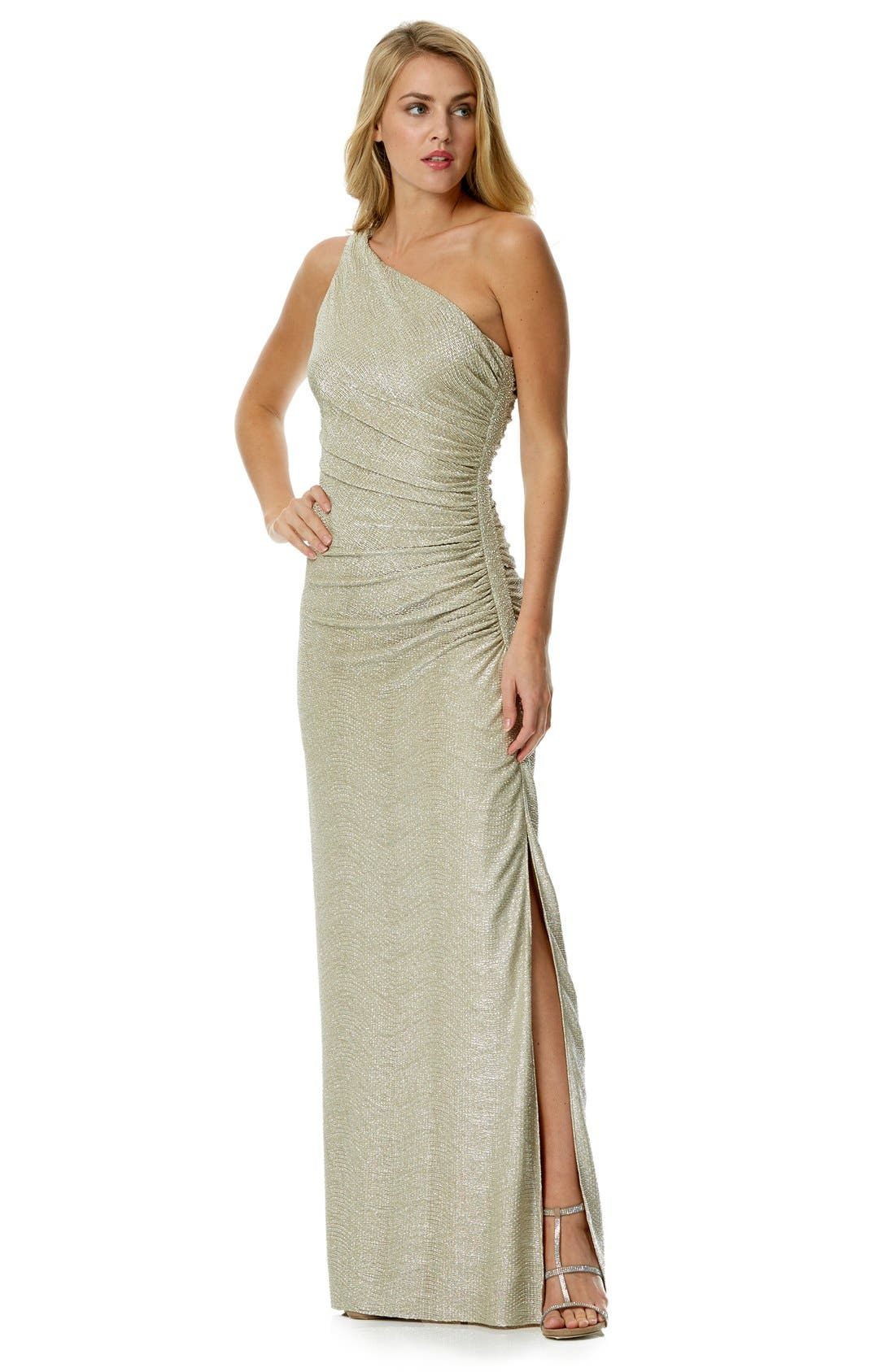 Alternate Image 1 Selected - Laundry by Shelli Segal Foiled One-Shoulder Gown