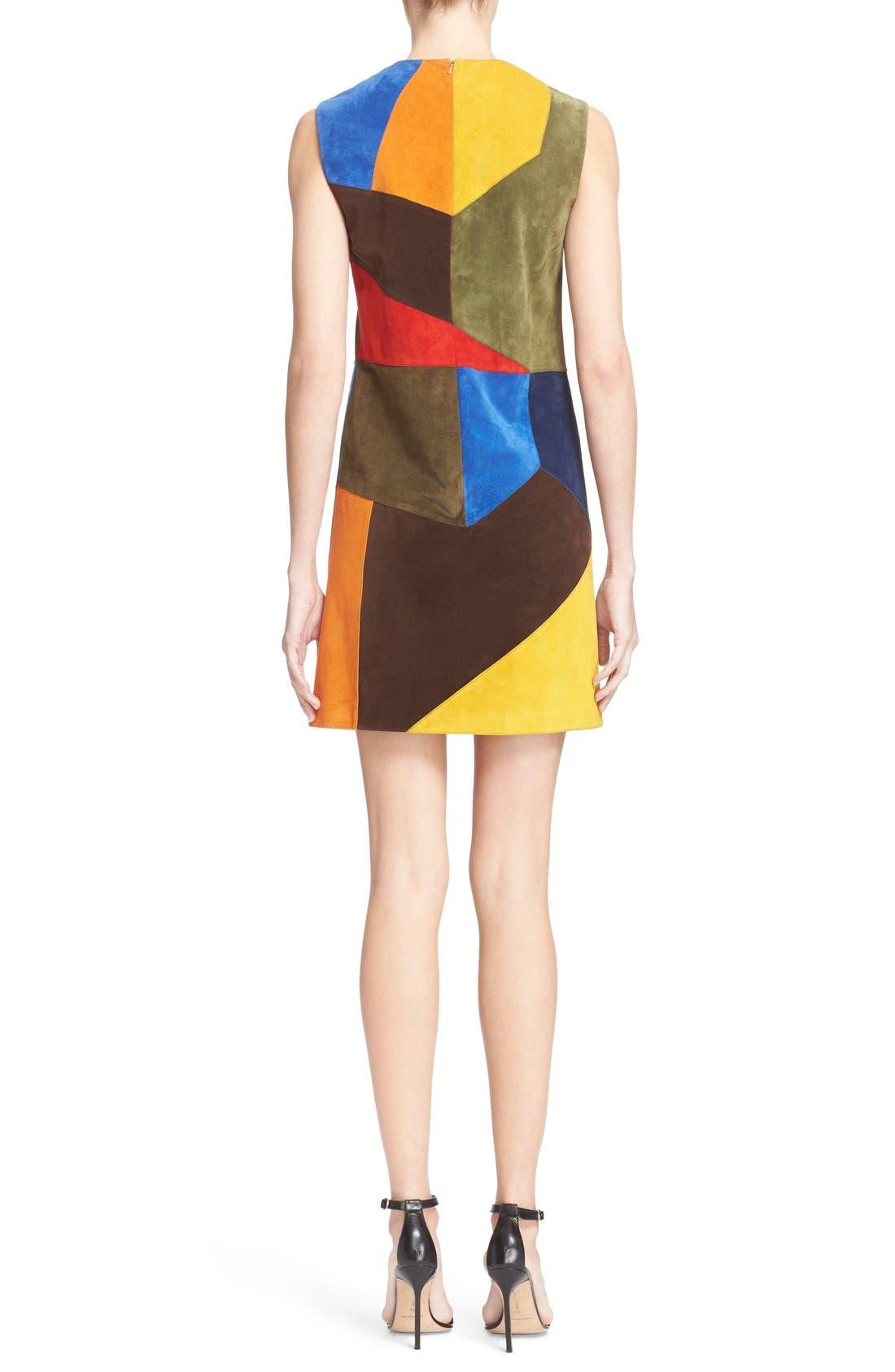 Alternate Image 2  - Victoria Beckham Patchwork Suede Shift Dress