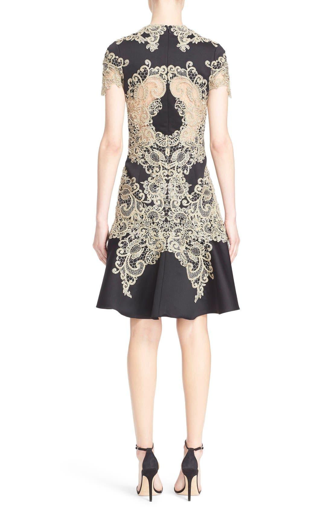 Alternate Image 2  - Marchesa Lace Appliqué Crepe Fit & Flare Dress
