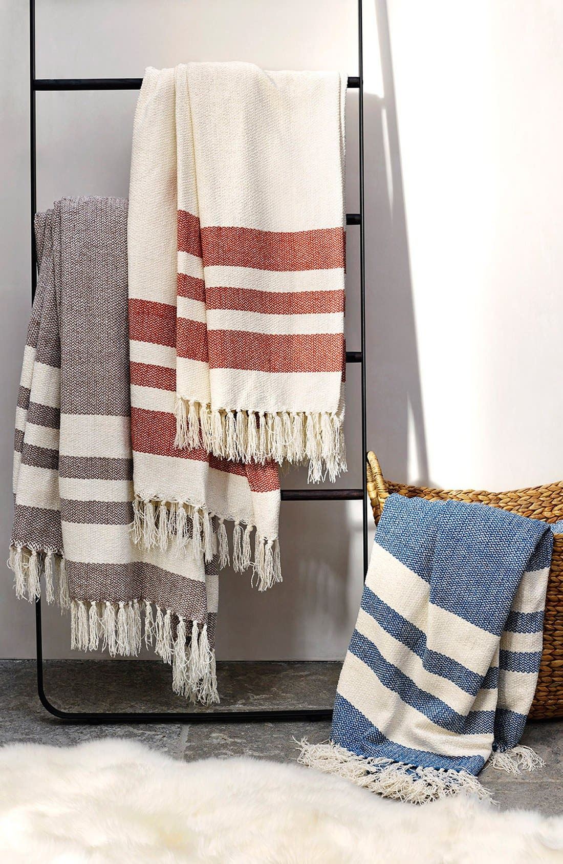 Alternate Image 2  - UGG® 'Racing Stripe' Fringe Throw