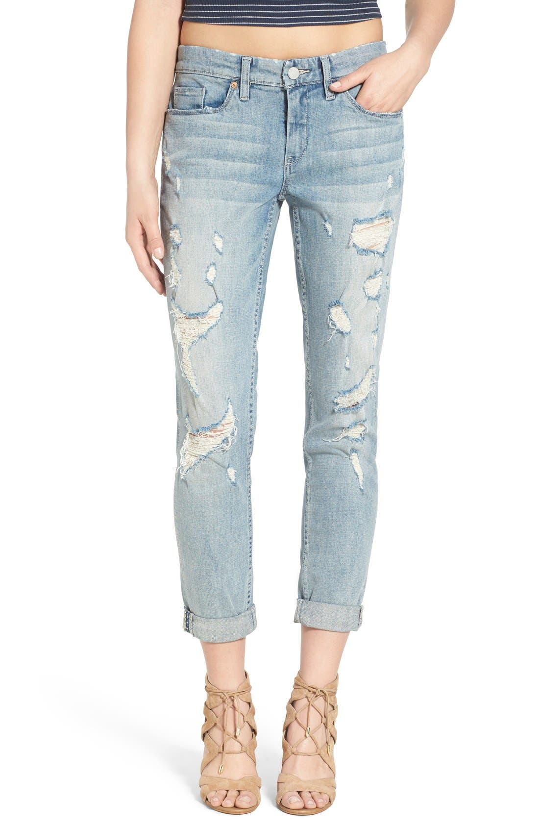 Main Image - BLANKNYC Distressed Boyfriend Jeans (Never Say Never)