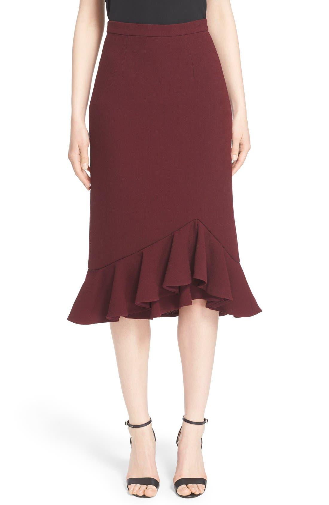 Alternate Image 1  - Erdem 'Joss' Wool Crepe Asymmetric Ruffle Hem Skirt