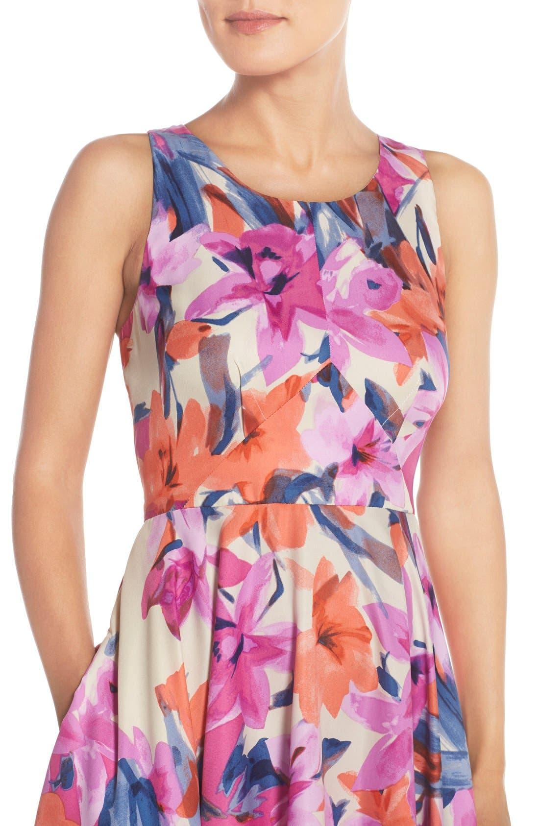 Alternate Image 4  - Donna Morgan Floral Print Woven Fit & Flare Dress