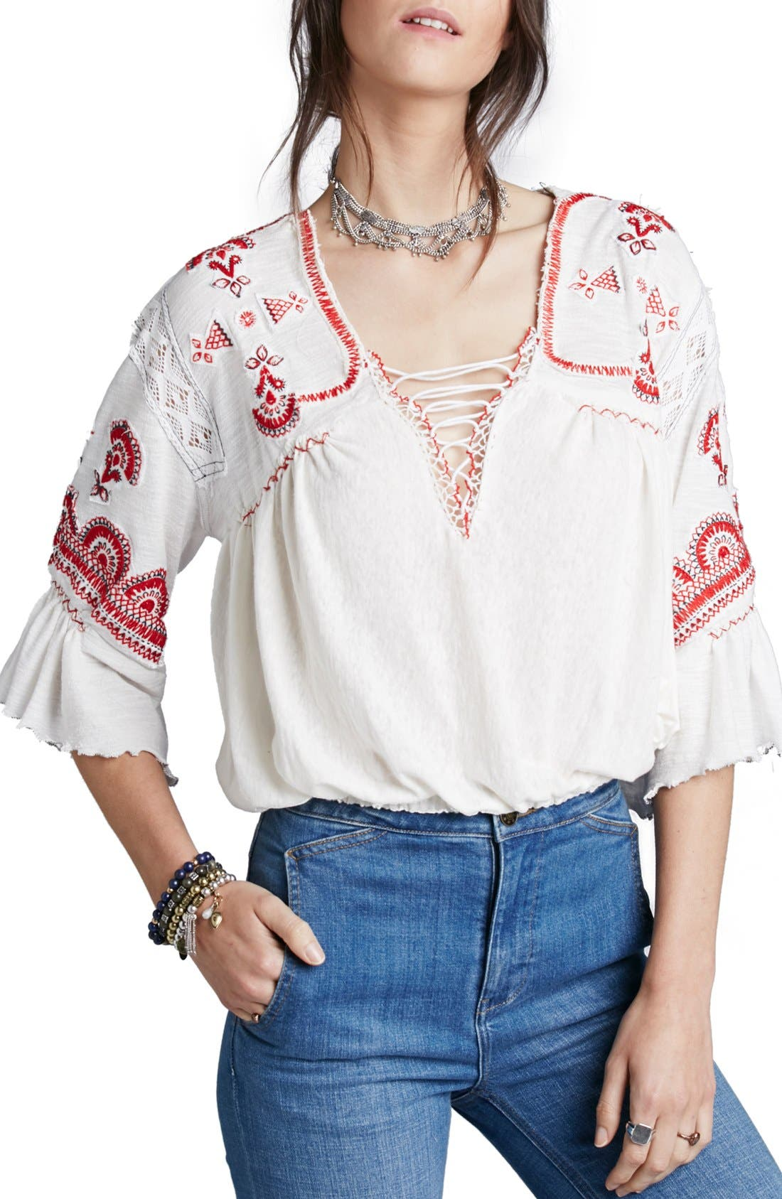 Alternate Image 1 Selected - Free People 'Chiquita' Embroidered Peasant Top