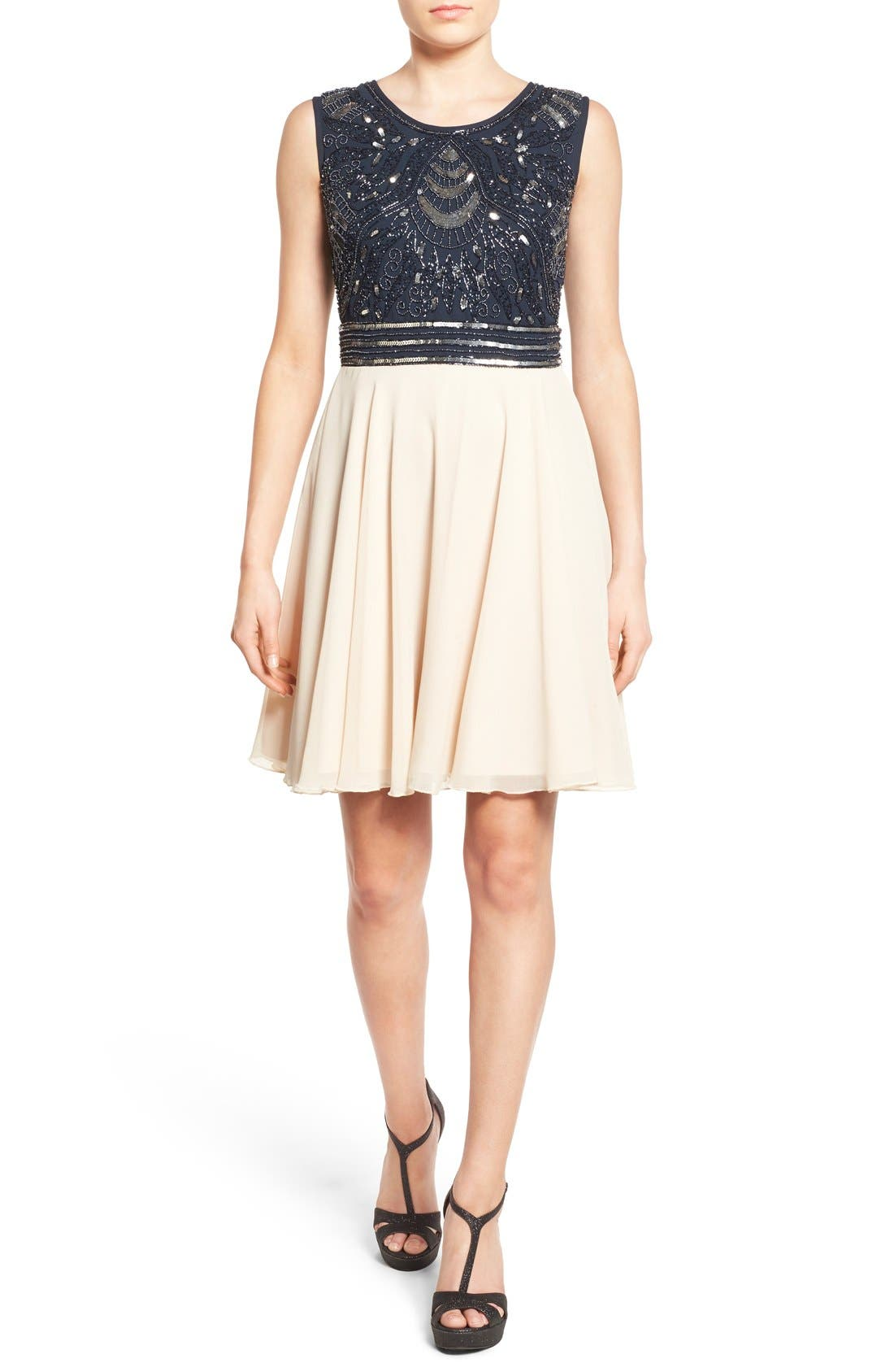 Alternate Image 1 Selected - Lace & Beads 'Miami' Embellished Skater Dress