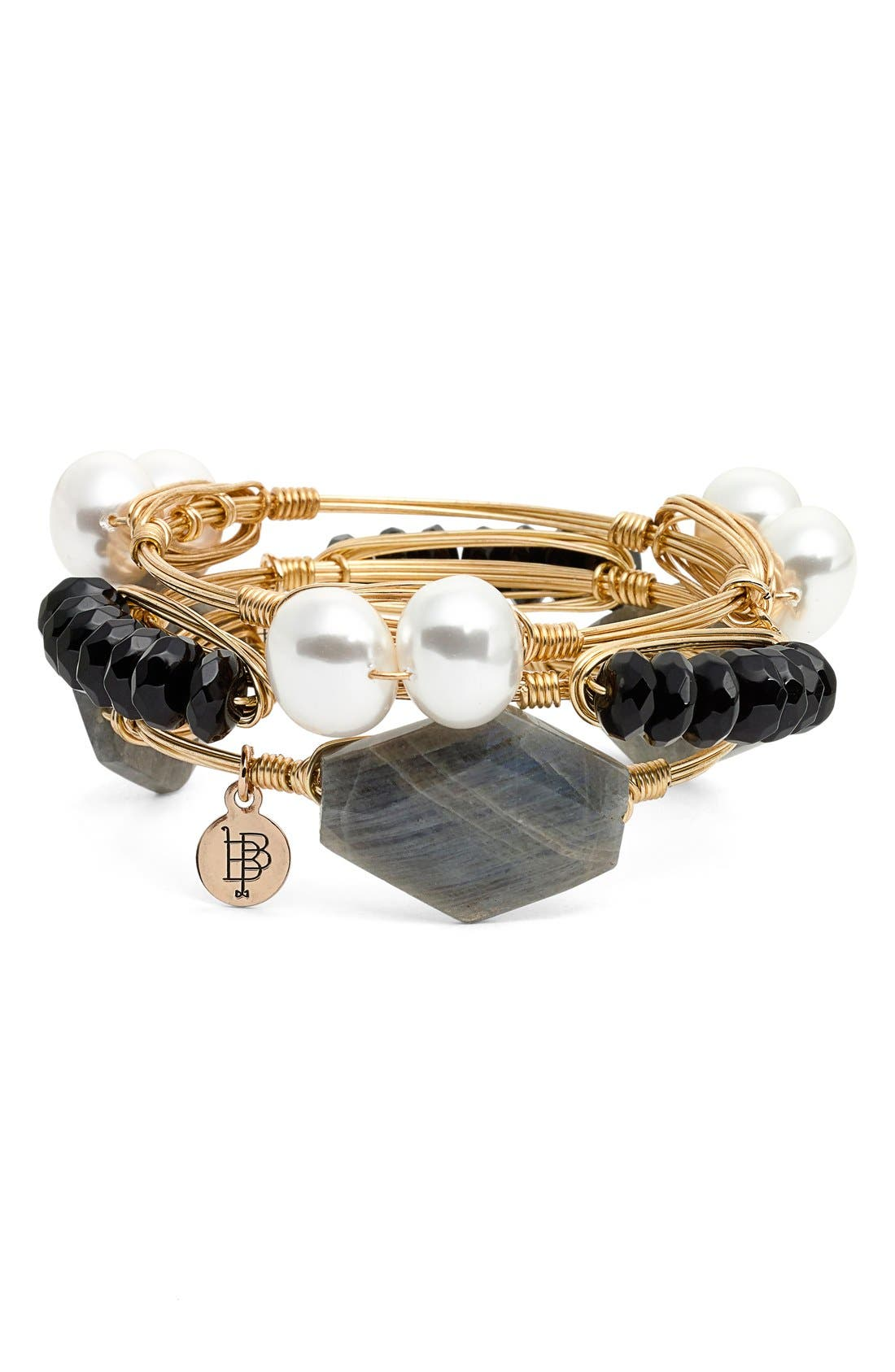 Alternate Image 2  - Bourbon & Boweties Black & Labradorite Stone Bracelets (Set of 3)