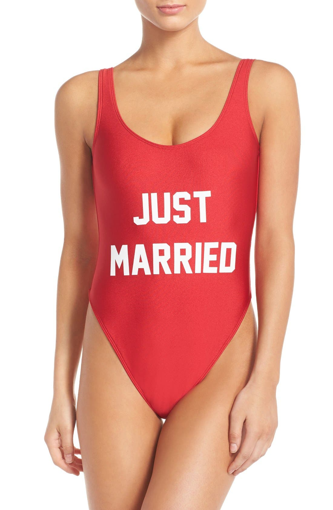 Alternate Image 1 Selected - Private Party 'Just Married' One-Piece Swimsuit