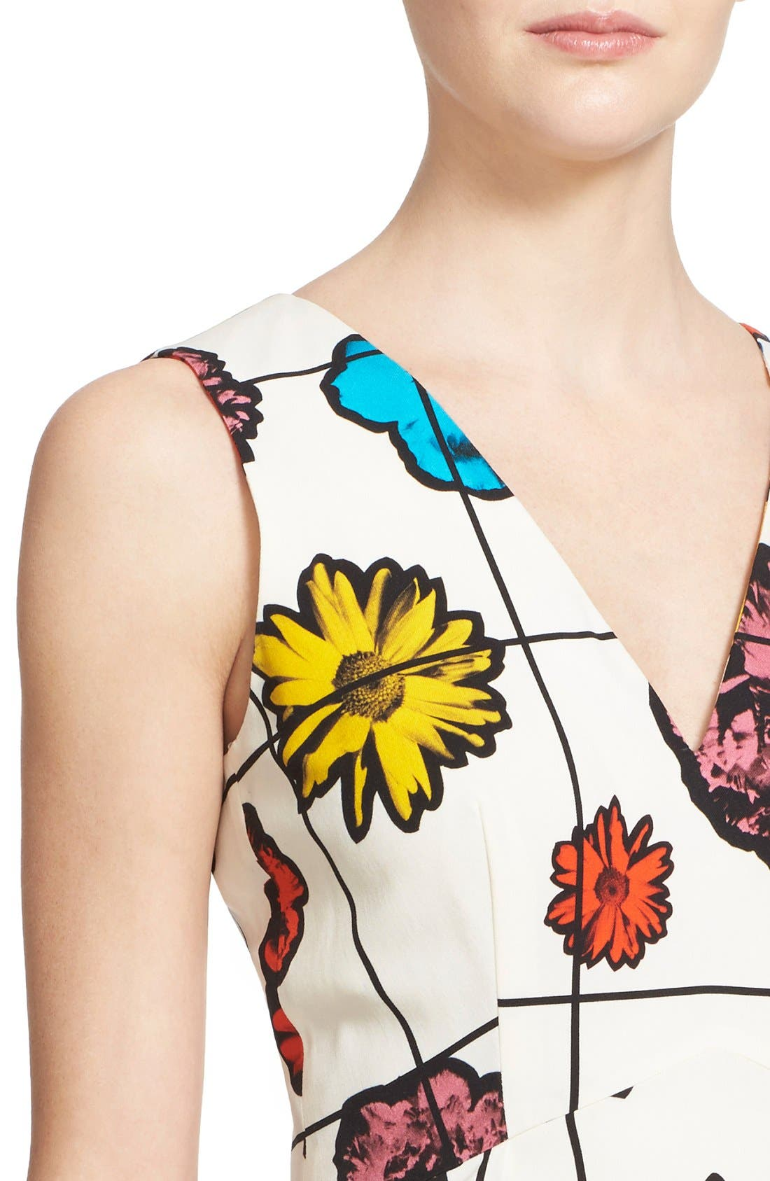 Alternate Image 6  - Moschino Floral & Grid Print Wool Blend Dress