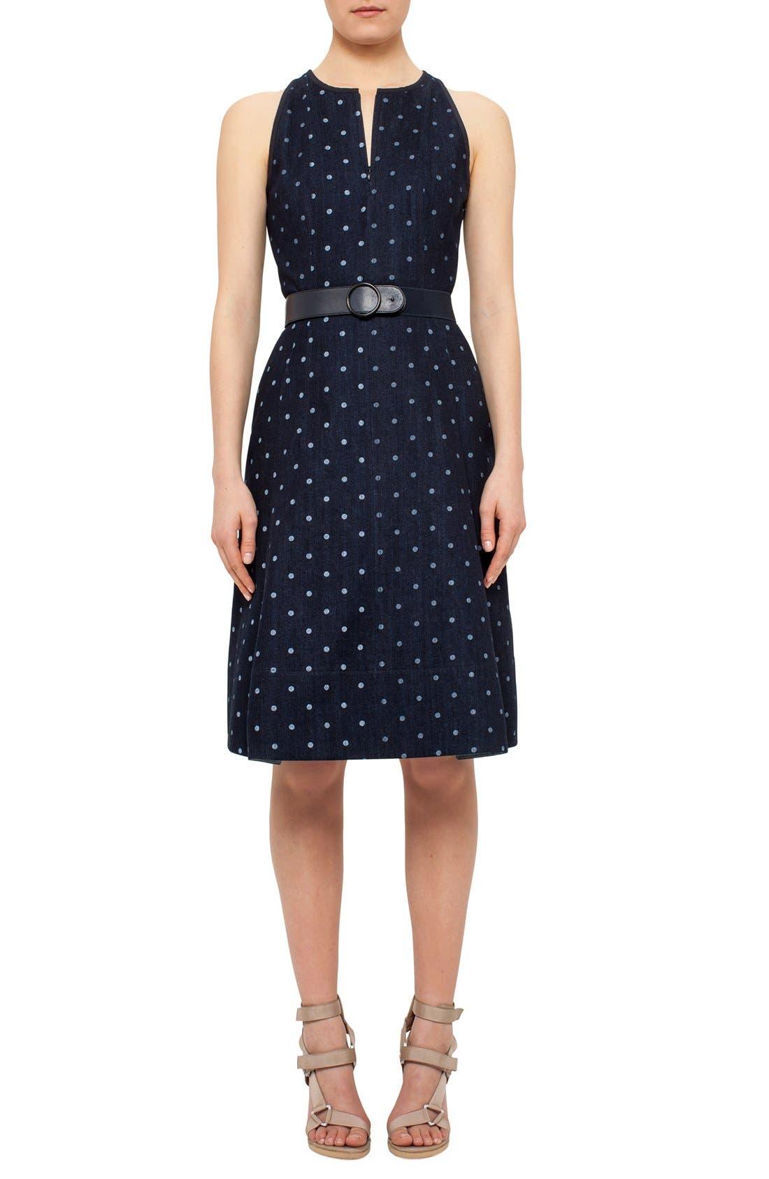 Alternate Image 3  - Akris punto Polka Dot Denim A-Line Dress