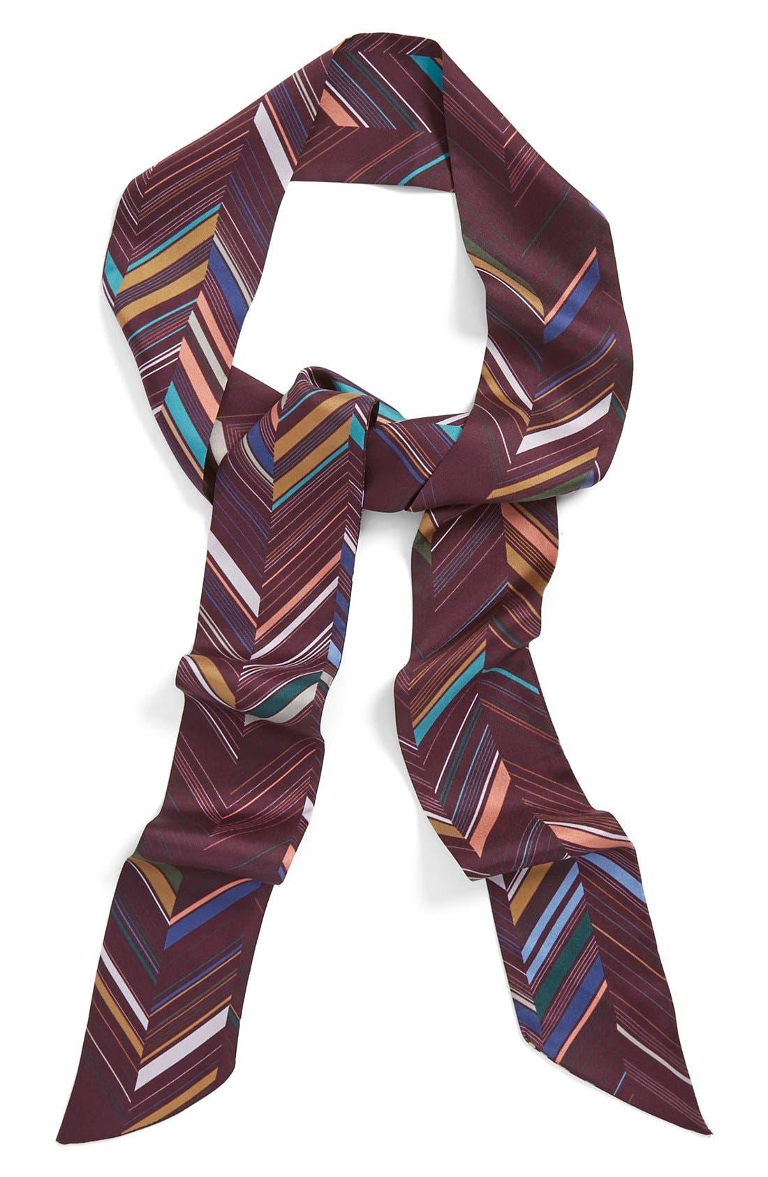 Main Image - Halogen® Chevron Bayadere Print Silk Skinny Scarf