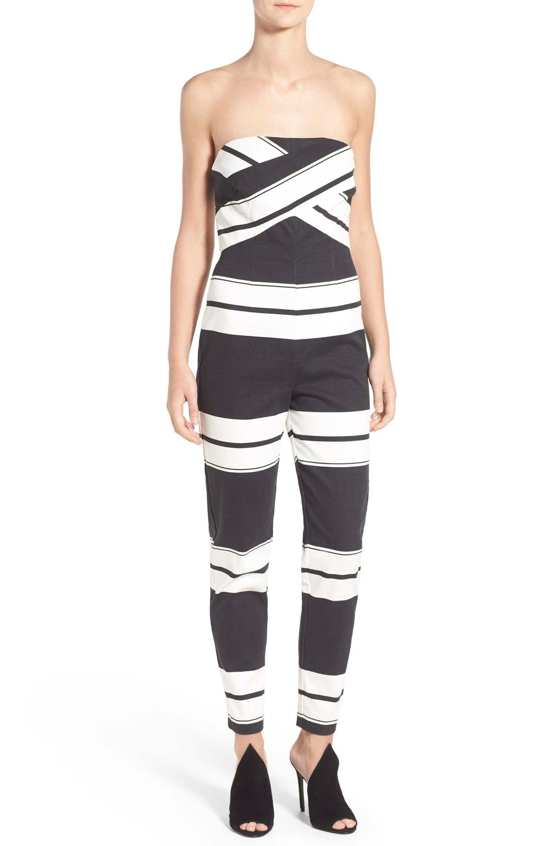 Main Image - KENDALL + KYLIE Stripe Strapless Jumpsuit