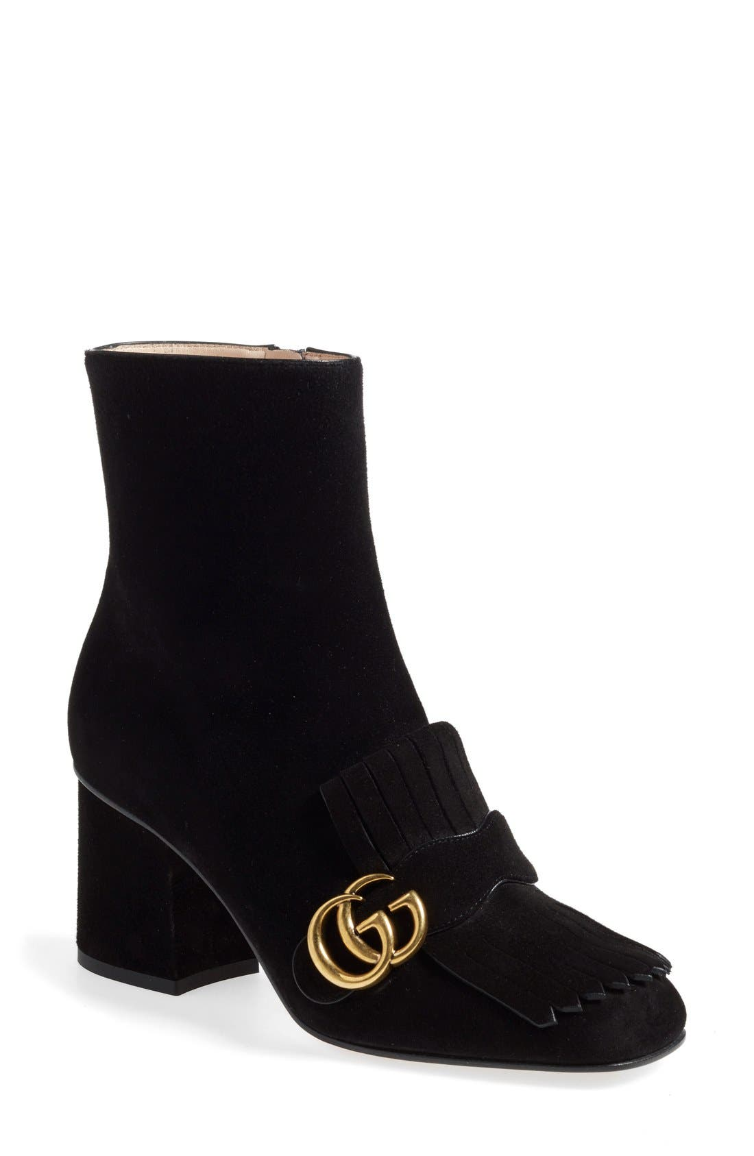 Alternate Image 1 Selected - Gucci GG Marmont Fringe Bootie (Women)