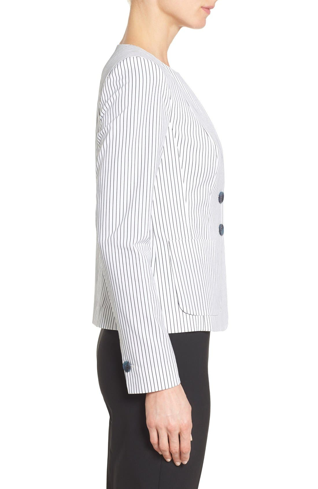 Alternate Image 3  - Nordstrom Collection 'City Stripe' Collarless Jacket