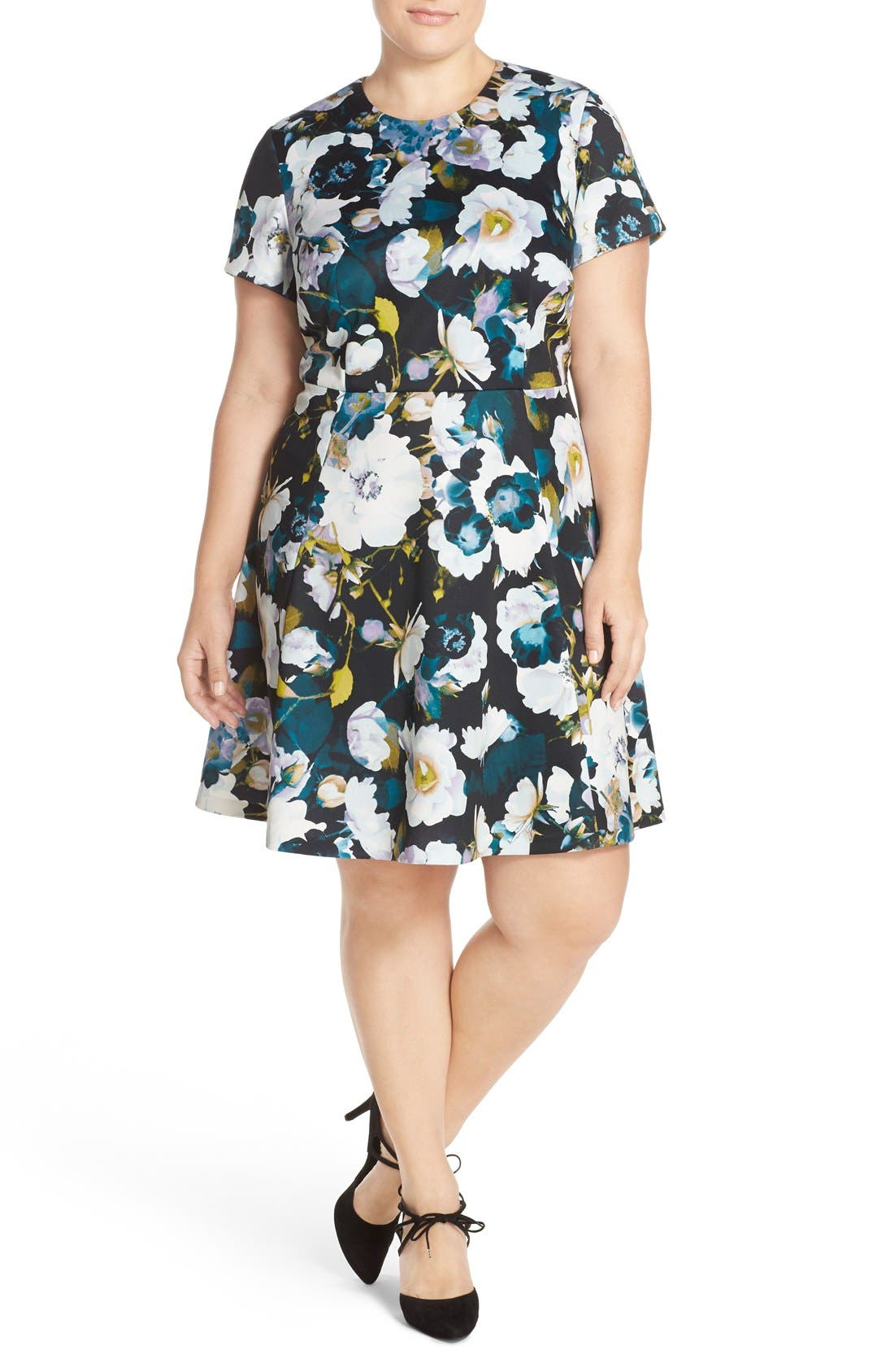 Alternate Image 5  - Eliza J Floral Ponte Fit & Flare Dress (Plus Size)