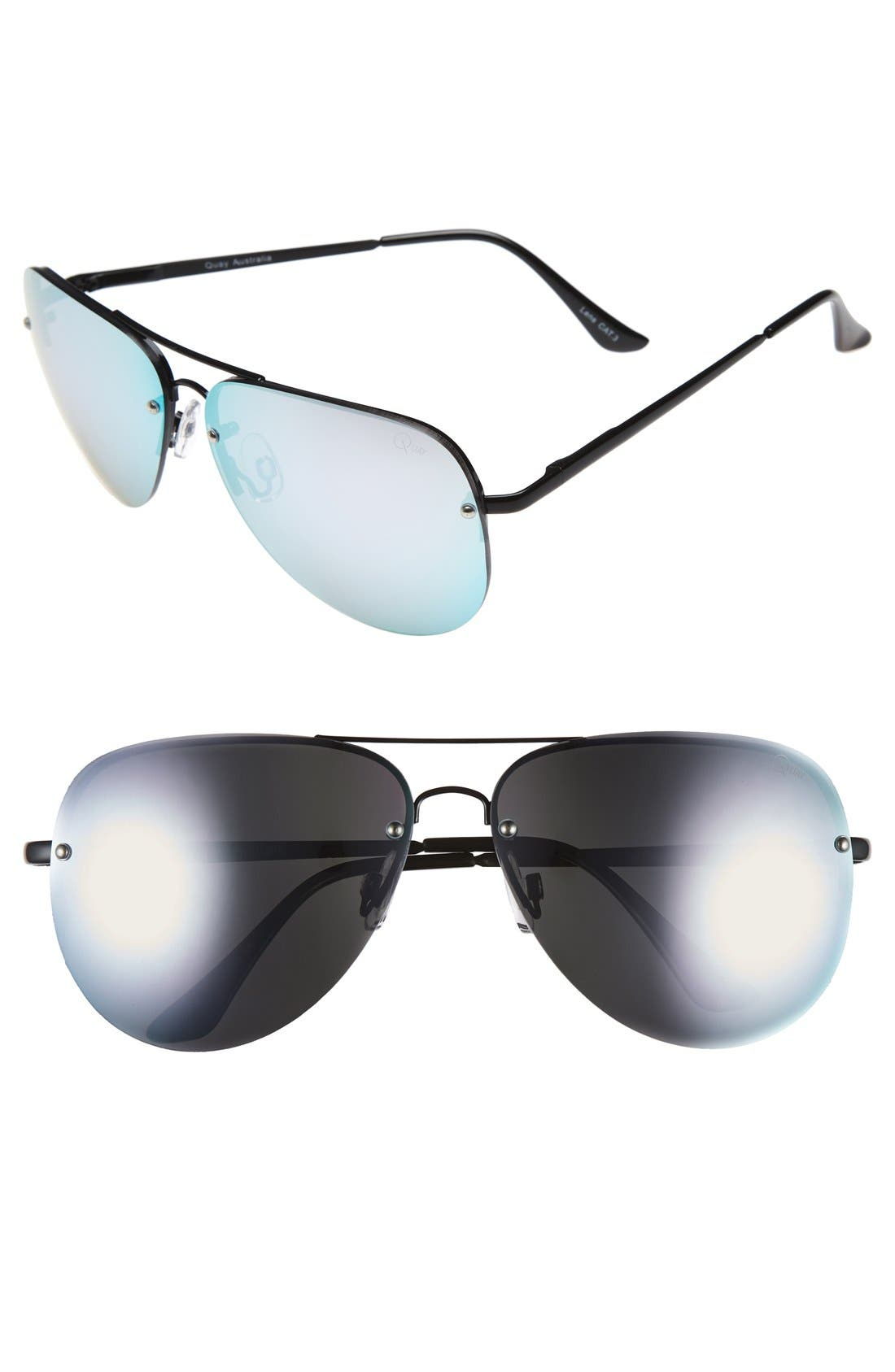 Quay Australia 'Muse' 65mm Mirrored Aviator Sunglasses