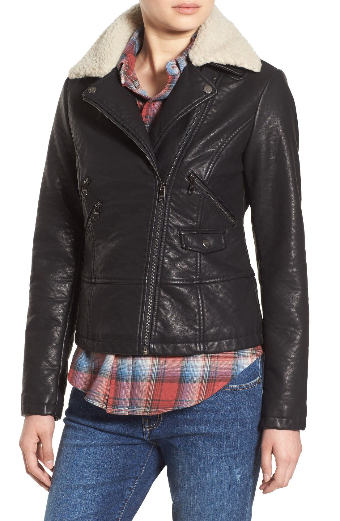 Alternate Image 4  - Steve Madden Faux Leather Moto Jacket with Faux Shearling Collar