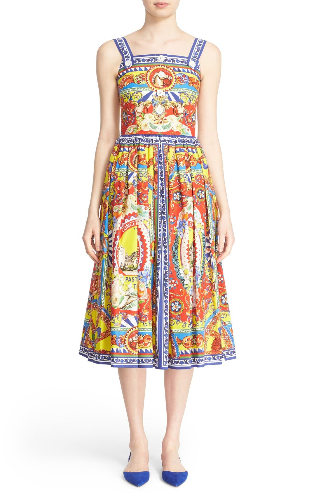 Alternate Image 1  - Dolce&Gabbana Carretto Print Cotton Poplin Dress