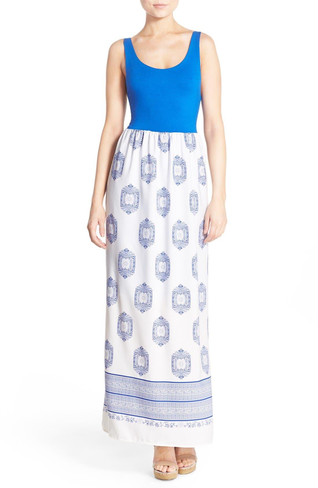 Fraiche by J Print Empire Waist Maxi Dress