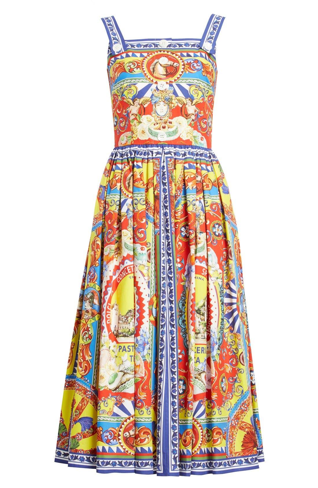 Alternate Image 4  - Dolce&Gabbana Carretto Print Cotton Poplin Dress