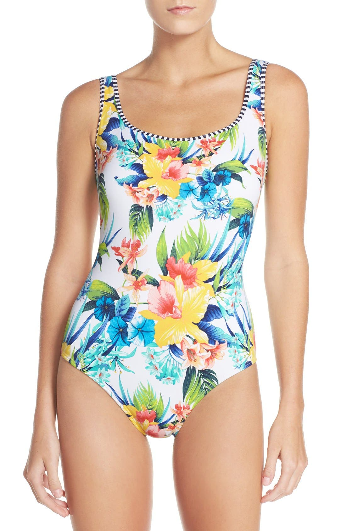 Alternate Image 1 Selected - Tommy Bahama Lace-Up Back One-Piece Swimsuit