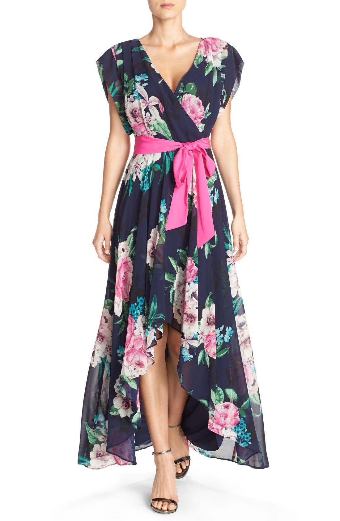 Eliza J Floral Print Chiffon High/Low Dress