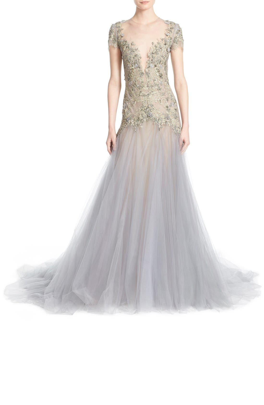 Alternate Image 2  - Marchesa Embroidered Lace & Tulle A-Line Gown
