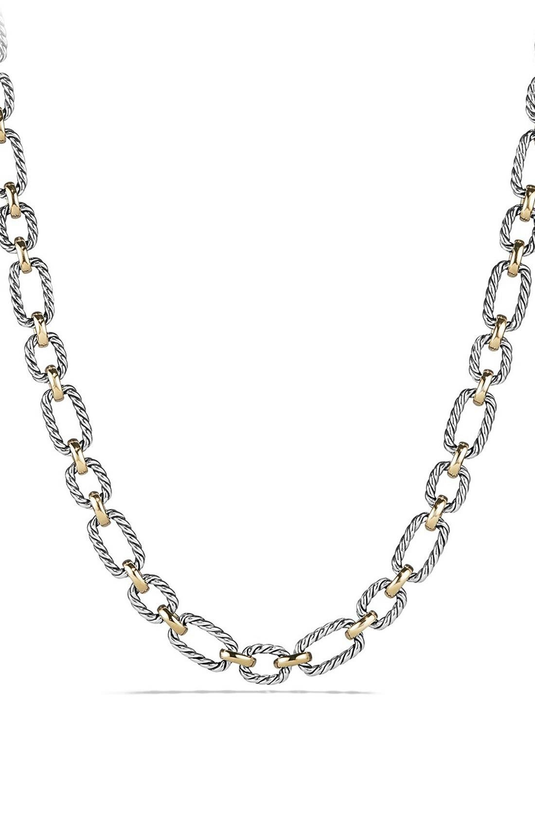 David Yurman 'Chain' Cushion Link Necklace with Sapphires & 18K Gold
