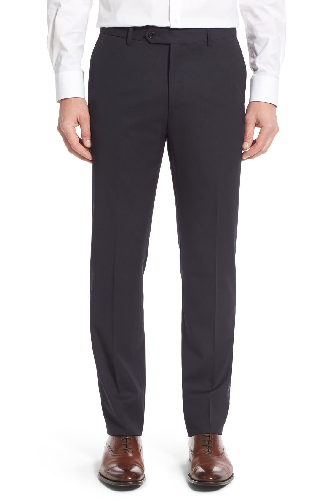 MONTE ROSSO Flat Front Solid Wool Trousers