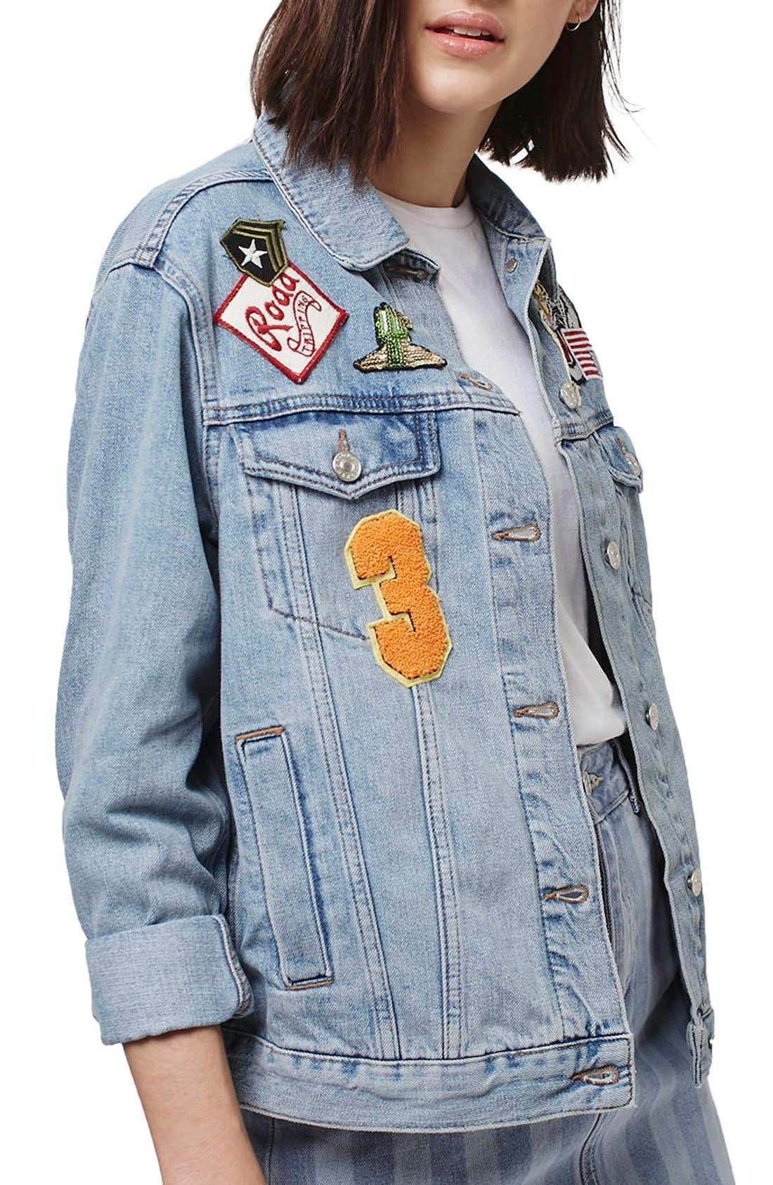 Main Image - Topshop Moto Badged Denim Jacket (Petite)