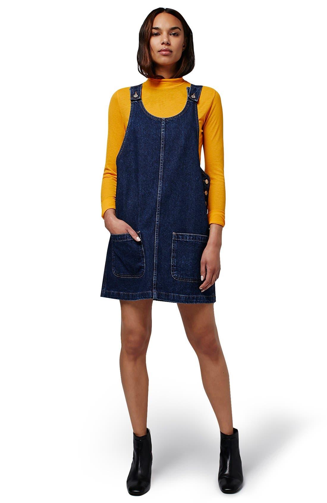 Alternate Image 2  - Topshop Patch Pocket Denim Pinafore Dress