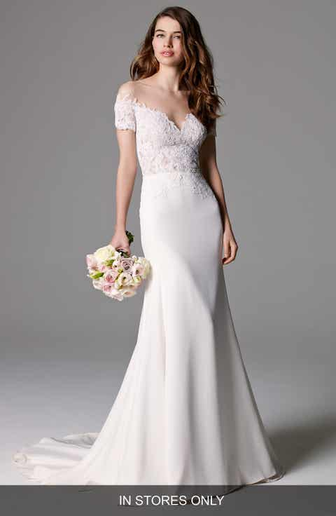 Watters 'Seaton' Illusion Off-the-Shoulder Lace   Georgette Trumpet Gown (In Stores Only)