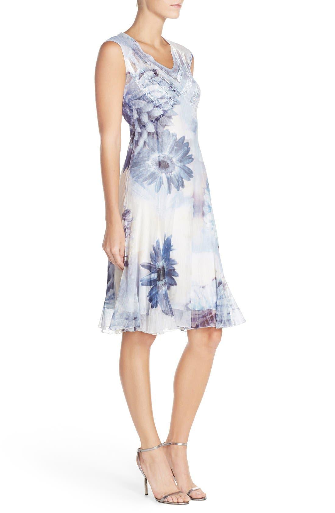 Alternate Image 3  - Komarov Floral Print Chiffon A-Line Dress (Regular & Petite)