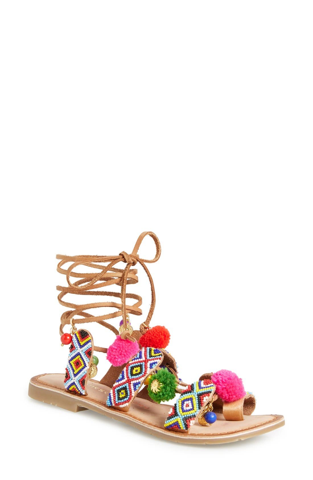 Chinese Laundry 'Posh' Embellished Lace-Up Sandal (Women)