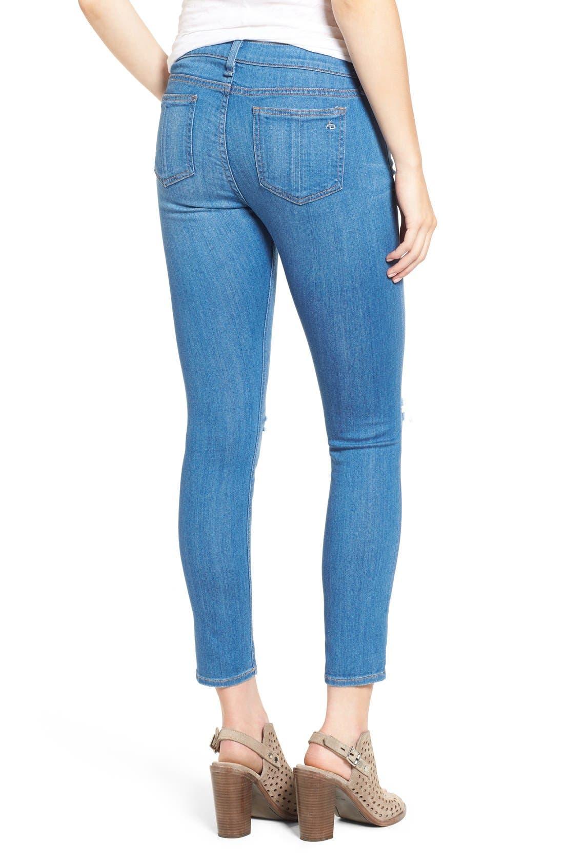 Alternate Image 2  - rag & bone/JEAN Destroyed Crop Skinny Jeans