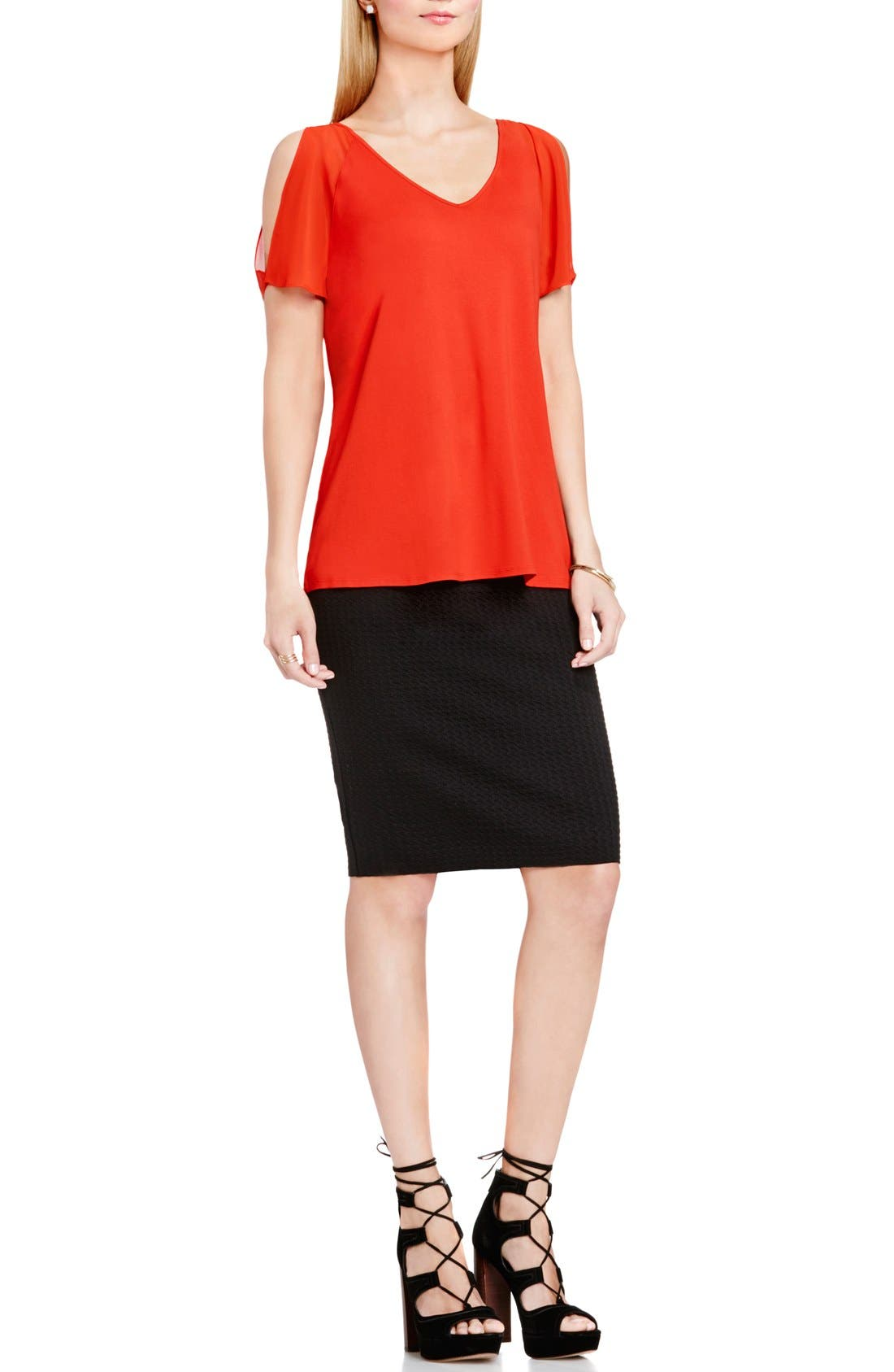 Alternate Image 3  - Vince Camuto Chiffon Cold Shoulder V-Neck Blouse