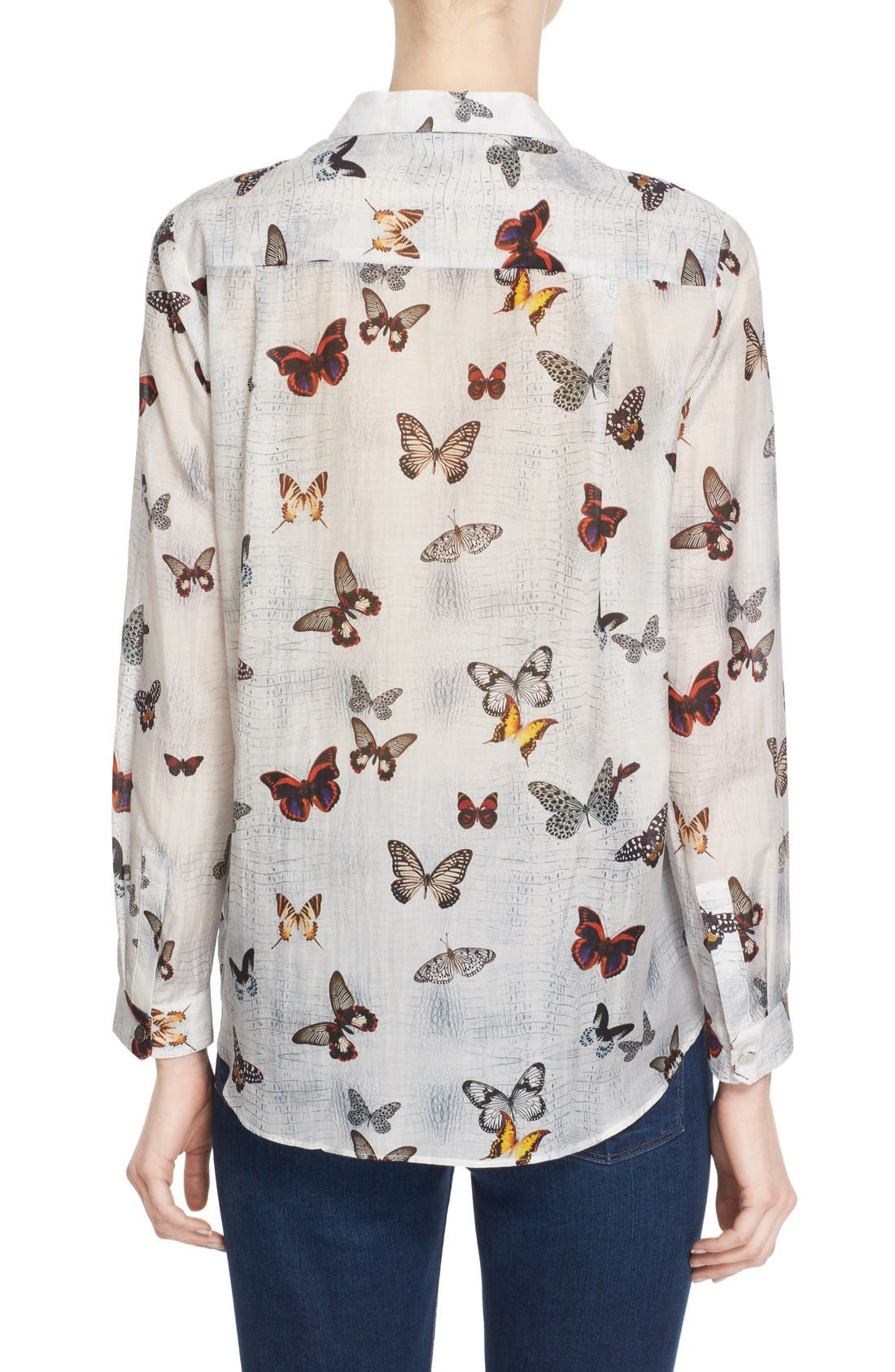 Alternate Image 2  - The Kooples Butterfly Print Cotton & Silk Shirt