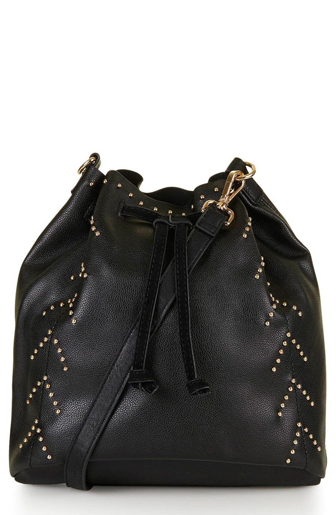 Main Image - Topshop Drawstring Faux Leather Bucket Bag