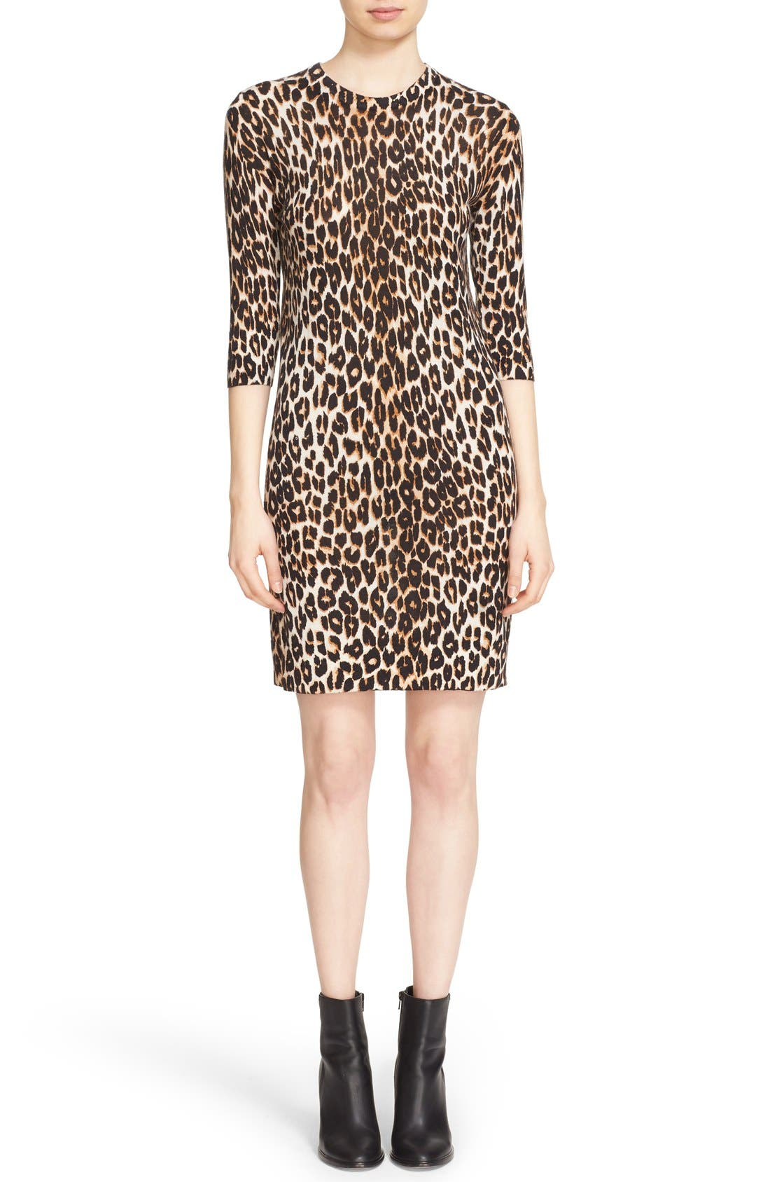 Alternate Image 1 Selected - Equipment 'Marta' Leopard Print Silk & Cashmere Knit Dress