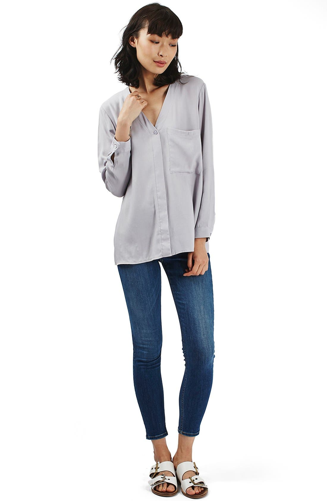 Alternate Image 2  - Topshop Wrap Back Long Sleeve Blouse