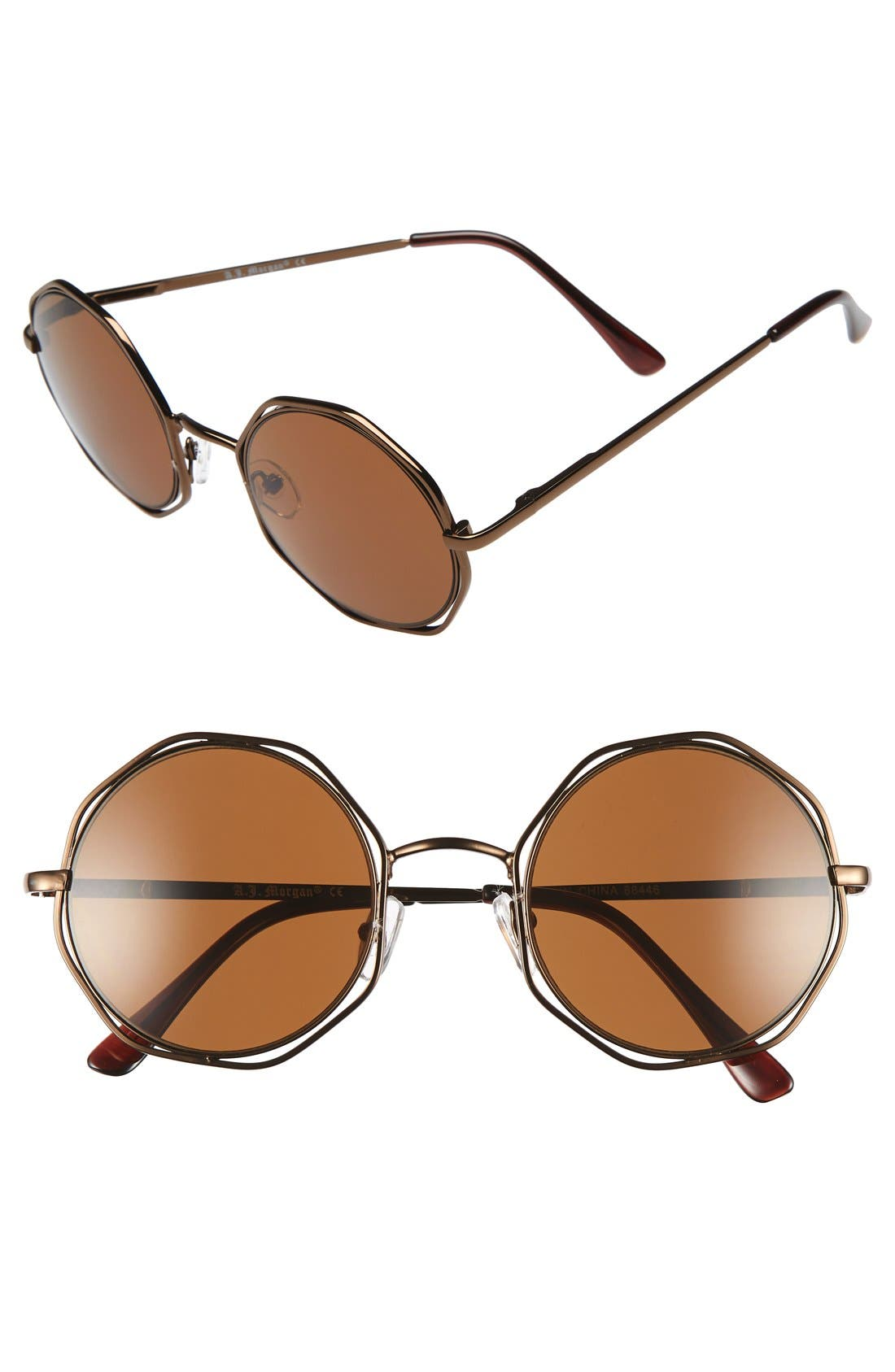 Main Image - A.J. Morgan 'Clayton' 48mm Octagon Wire Sunglasses