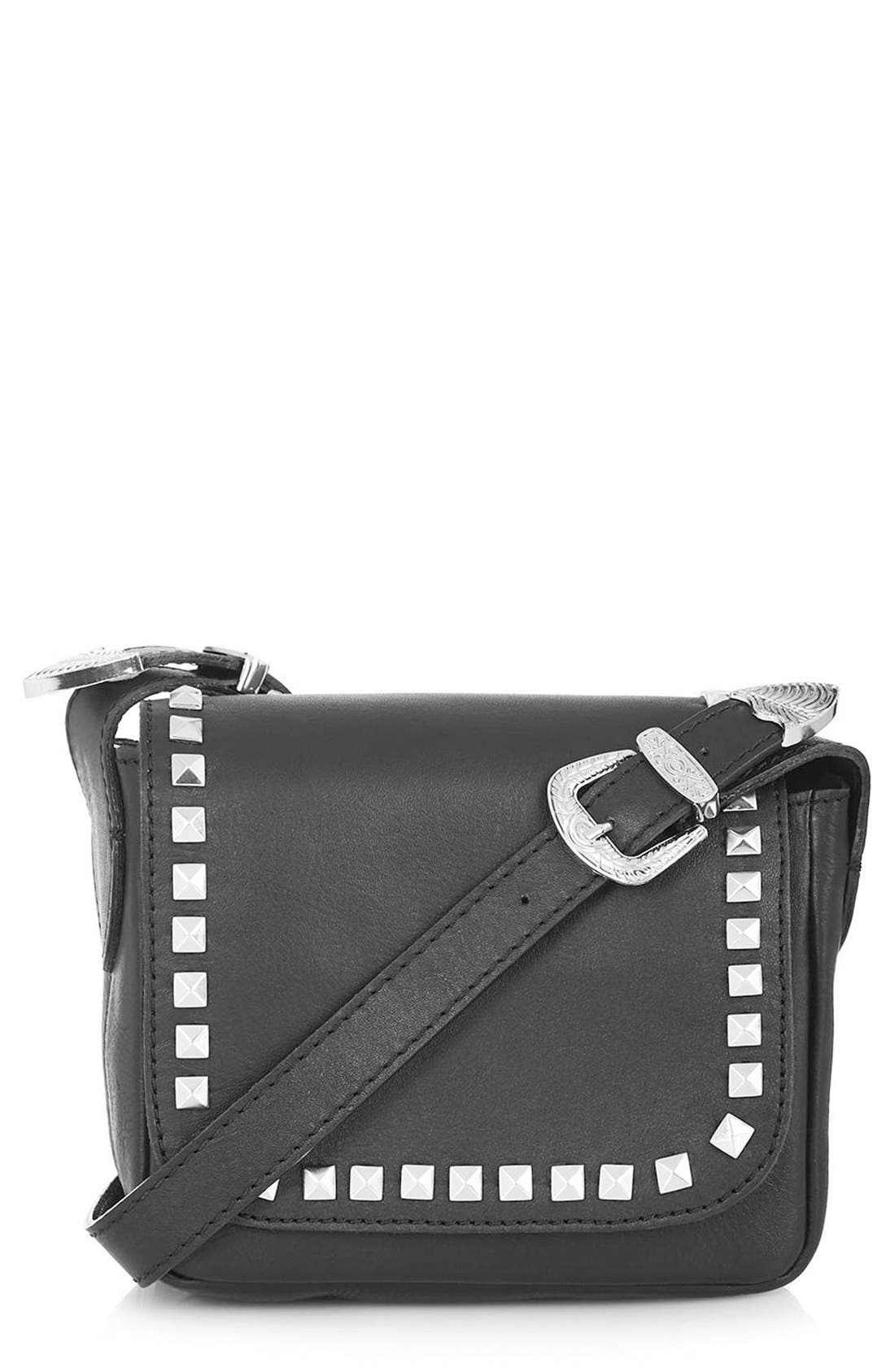 Alternate Image 1 Selected - Topshop 'Rodeo' Studded Leather Crossbody Bag