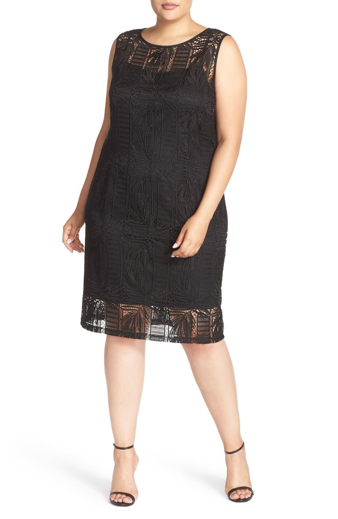 Ellen Tracy Crochet Lace Sheath Dress (Plus Size)