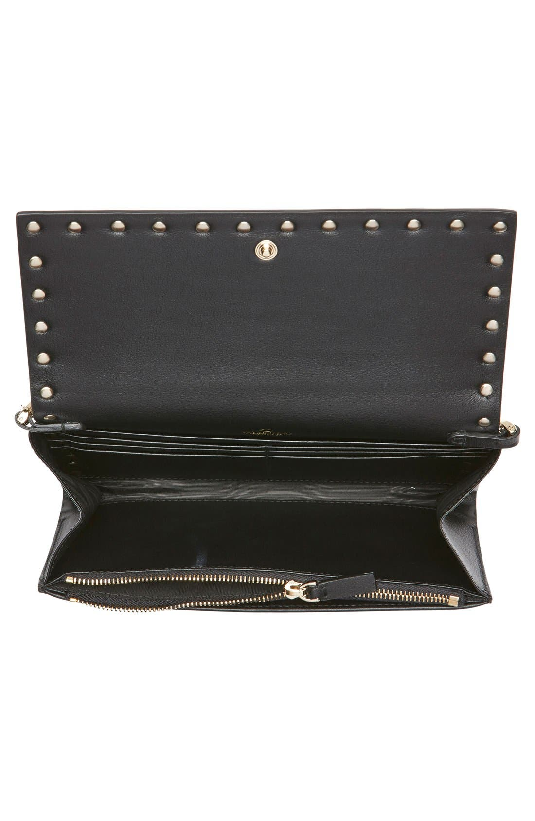 Alternate Image 5  - Valentino 'Rockstud' Calfskin Leather Wallet on a Chain